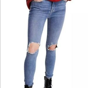 Free People skinny jeans turquoise size 25